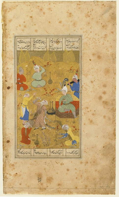 Image 1 for Folio from a Shahnama (Book of kings) by Firdawsi (d.1020); verso: Daughters of Barzin Dance for Bahram Gur; recto: text: Bahram Gur and Barzin Shah