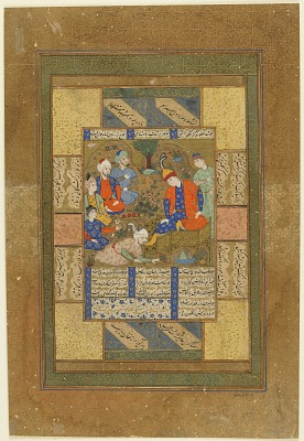 Folio from an unidentified text; Shapur fetches Shirin and pays homage to Khusraw