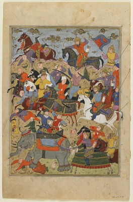 Folio from a <em>Shahnama</em> (Book of kings) by Firdawsi (d.1020); recto: Ardashir slays Haftwad; verso: The story of slaying of Haftwad's worm