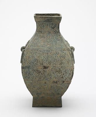 Square ritual wine container (<em>fanghu</em>) with narrative scenes