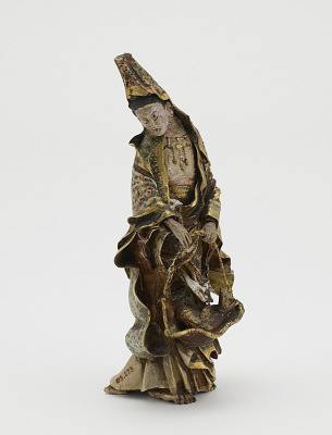 Figure of Kannon holding a fish in a basket