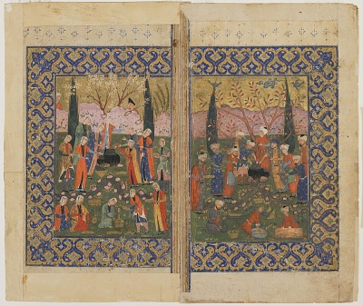 Folio from an unidentified text; recto: colophon, verso: A picnic in a garden