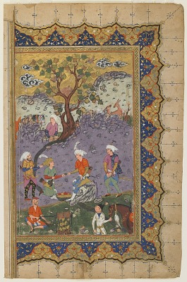 Folio from a dispersed copy of <em>Khamsa</em> (Quintet) by Nizami (d. 1209); recto: illuminated table of contents; verso: A prince seated in a landscape with attendants, right-hand half of a double-page frontispiece