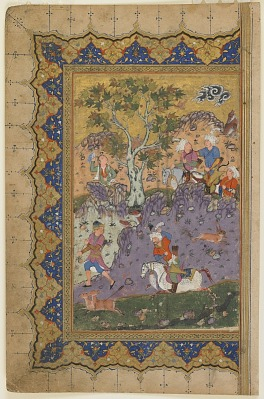 Folio from a <em>Khamsa</em> (Quintet) by Nizami (d. 1209); recto: A prince hunting, left-hand half of a double-page frontispiece; verso: text