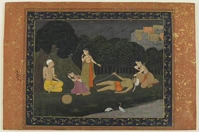 Folio from an album; recto: Scene from the Story of Gur and Gobind; verso: calligraphy