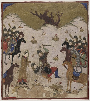 Folio from a <em>Shahnama</em> (Book of kings) by Firdawsi (d.1020); Shahru identifies Burzu as Rustam's grandson during the final combat between Rustam and Burzu