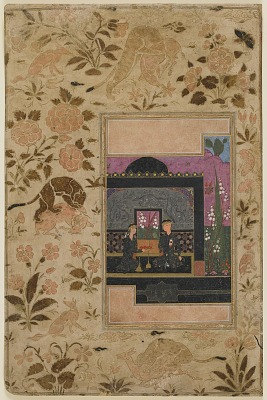 Folio from a <em>Haft paykar</em> (Seven beauties) by Nizami (died 1209); Bahram Gur and the princess in the Black Pavilion