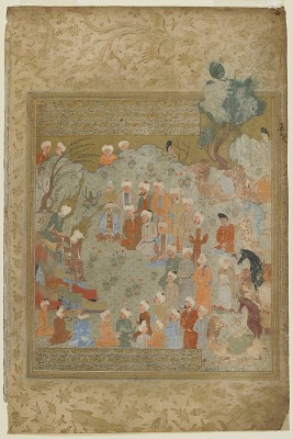 Folio from a <em>Rawdat al-safa</em> (Garden of felicity) by Mirkhwand (d. 1498); recto: text, Muhammad performed Hajj ceremonies and warned his disciples of his death; verso: illustration and text, Muhammad performed the rites of pilgrimage with his son in law