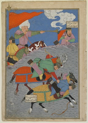 Folio from a <em>Shahnama</em> (Book of kings) by Firdawsi; recto: Battle between Zanga and Awkhast; verso: text: Battle of Gurgin and Andariman