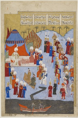 Folio from an unidentified text; obverse: <em>Pasha receives Mir Abd-Ali</em>; reverse: text: The famous commander receives Osman Mohammad Qazi with kindness