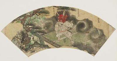 Fan with scene from the <em>Tale of Shuten Doji</em>