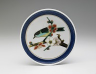 Dish with design of nightingale on blossoming prunus branch (from a set of five)