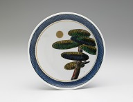 Dish with design of pine tree and moon (from a set of five)