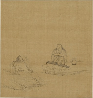 A man with a musical instrument and one with cup seated on either side of a brook