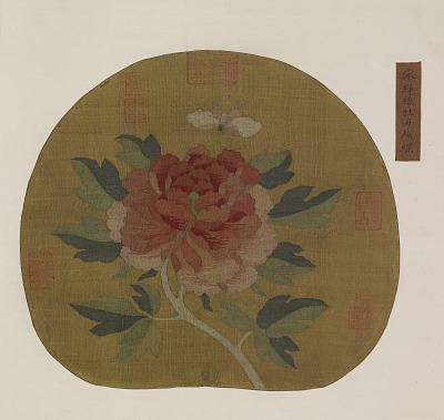 Tapestry: a peony and butterfly
