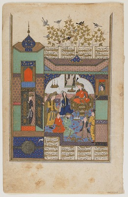 Folio from a <em>Shahnama</em> (Book of kings) by Firdawsi (d.1020); recto: Shirin before Shiruya; verso: text