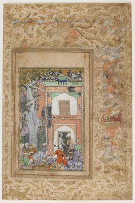 <em> Babur Entertains in Sultan Ibrahim Lodi's Palace </em> from a <em>Baburnama</em>