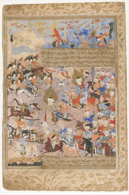 Folio from a <em>Rawdat al-safa</em> (Garden of felicity) by Mirkhwand (d. 1498); recto: Hamza and Ali in battle; verso: Bravery and courage of Ali and Hamza