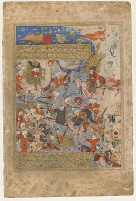 Folio from a <em>Rawdat al-safa</em> (Garden of felicity) by Mirkhwand (d. 1498); verso: Ali and Aisha at the Battle of the Camel; recto: text