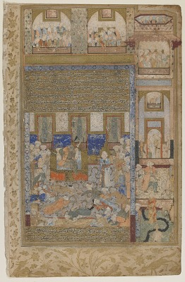 Folio from a <em>Rawdat al-safa</em> (Garden of felicity) by Mirkhwand (d. 1498); verso: Moses performing the miracle of the luminous hand before Pharaoh; recto: text