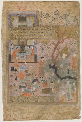 Folio from a <em>Rawdat al-safa</em> (Garden of felicity) by Mirkhwand (d. 1498); verso: illustration and text, Muhammad converses with Nestor; recto: text, On the events of the twenty-fifth years of Muhammad's birth, his trip to Damascus and his marriage to Khadijeh Kobra