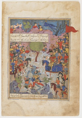 Folio from a <em>Garshaspnama</em> (Book of Garshasp) by Asadi Tusi (d. 1072); verso: Battle between a demon and two men; recto: text