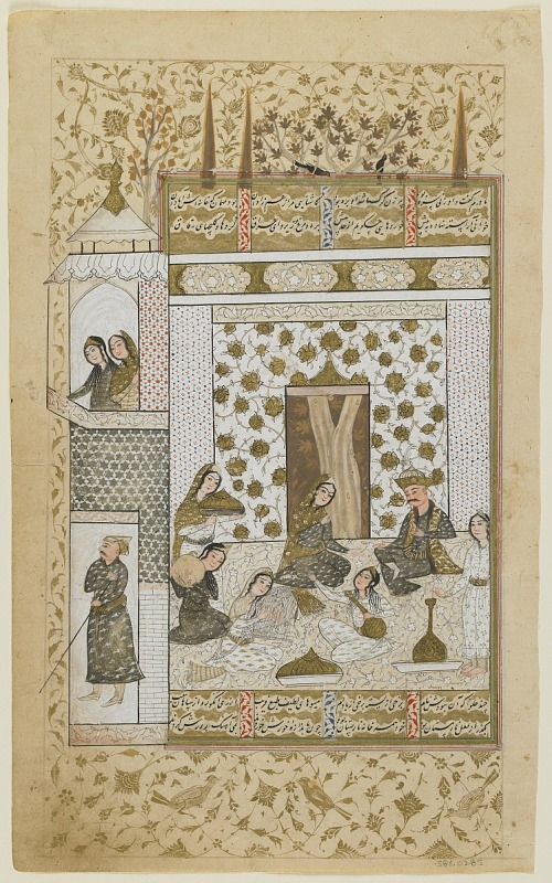 Image 1 for Folio from a Khamsa (Quintet) by Nizami (d.1209); Bahram Gur and the princess in the white pavilion