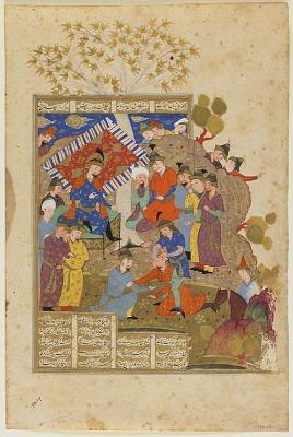 Folio from a <em>Shahnama</em> (Book of kings) by Firdawsi (d.1020); verso: The Murder of Siyavush before Afrasiyab; recto: text, Siyavush is killed by Gorvizereh