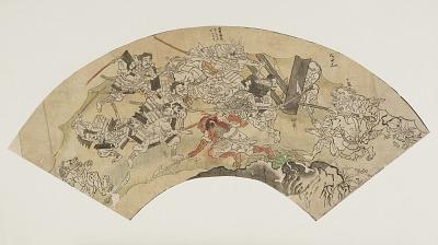 Preparatory drawing for a fan with a scene from the Tale of Shuten Doji