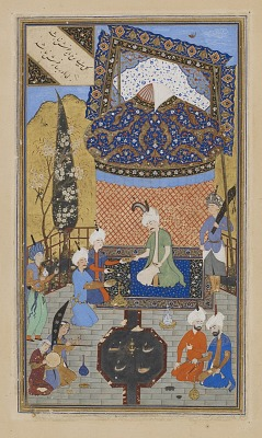 Folio from a <em>Divan</em> (collected poems) by Hafiz (d. 1390); recto: text: Poem of the contentment of heart and soul; verso: illustration and text, Prince entertained on a terrace