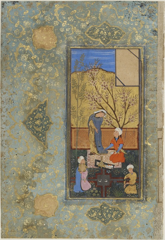 Image 1 for Folio from a Khamsa (Quintet) by Nizami (d. 1209); Couple with attendants; verso: text: Chapter thirty-one: discrediting overindulgence in eating, part from Khusraw va Shirin