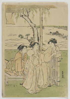 Three Beauties in Summer, Women at Takanawa