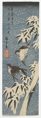 Sparrows and Bamboo in Snow