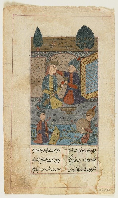 Image 1 for Folio from a Divan (collected poems) by Hafiz (d.1390); recto: Prince and Princess listen to musicians; verso: text