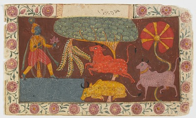 <em>Krishna and Cows at a Pond</em> from a <em>Bhagavata Purana</em>