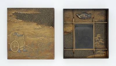 Inkstone box, with scene from <em>The Tale of Genji</em>, Chapter 10