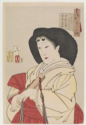 Looking refined: the appearance of a court lady during the Kyowa era (1801-1804), from the series Thirty-two Aspects of Customs and Manners