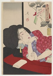 Looking drowsy: the appearance of a harlot of the Meiji era, from the series Thirty-two Aspects of Customs and Manners