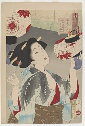 Looking perceptive: the appearance of a Kyoto waitress in the Meiji era, from the series Thirty-two Aspects of Customs and Manners