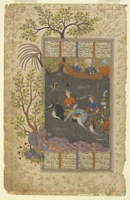 Folio from a <em>Shahnama</em> (Book of kings) by Firdawsi (d.1020); recto: Kay Khusraw, Farangis and Giv cross the Jayhun; verso: Giv's letter to his father