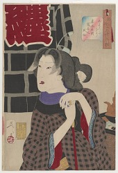 Looking expectant: the appearance of a fireman's wife of the Kaei era (1848-1854), from the series Thirty-two Aspects of Customs and Manners