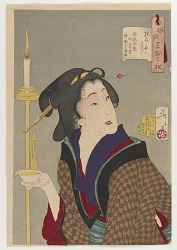 Looking thirsty: the appearance of a town geisha, a bargirl in the Ansei era (1854-1860), from the series Thirty-two Aspects of Customs and Manners