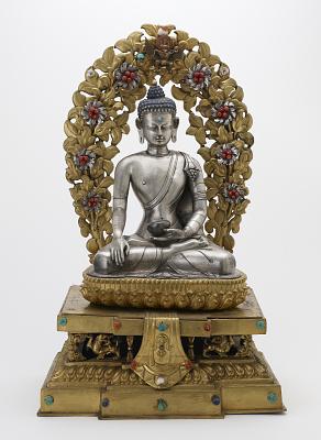 Shakyamuni Buddha in a full shrine