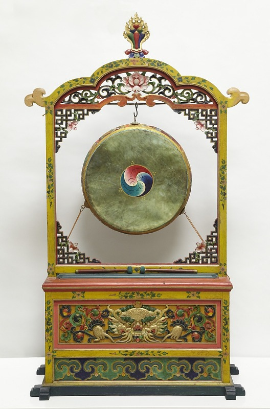 Image 1 for Large temple drum with original stand and drumsticks