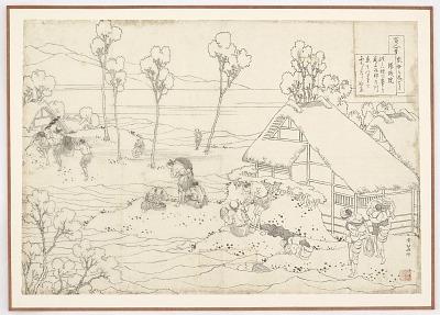 Preparatory drawing for a print in the series <em>Hyakunin isshu uba ge etoki</em>: Yozei in