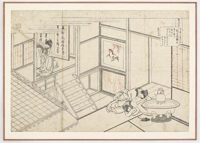 Preparatory drawing for Shokushi Nai Shinno from the series One Hundred Poems Explained by the Nurse (Hyakunin isshu uba ga etoki)
