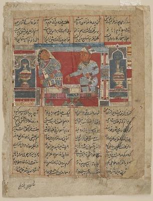 Folio from a <em>Khamsa</em> (Quintet) of Amir Khusraw Dihlavi; the traitorous vizier tries to make love to the queen