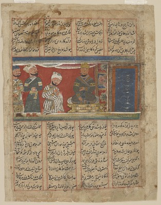 Folio from a <em>Khamsa</em> (Quintet) of Amir Khusraw Dihlavi; The priest brings a marriage document (kalim) to Khusraw