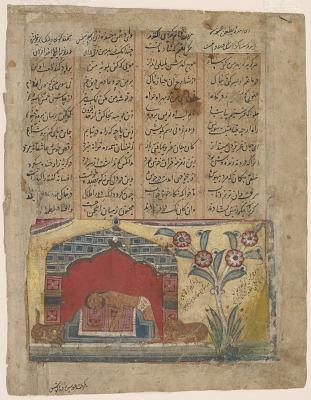 Majnun throwing himself onto Layla's grave, folio from a <em>Khamsa</em> (Quintet) of Amir Khusraw Dihlavi