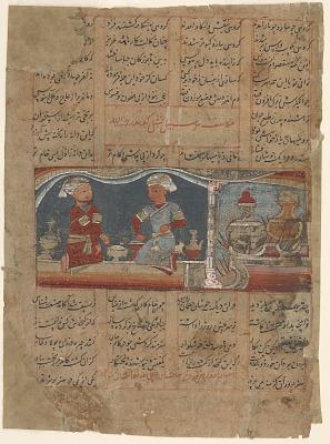 Folio from a <em>Khamsa</em> (Quintet) of Amir Khusraw Dihlavi; the boiling of the artificial rice